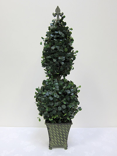 36&#8221; Boxwood Flat Double Topiary in Tin Pot