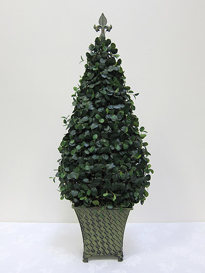 36&#8221; Boxwood Flat Topiary in Tin Pot