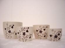 Set/4 Flower Print Vase