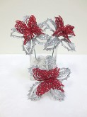 Glitter Poinsettia Butterfly Pick