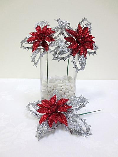 Glitter Poinsettia Pick