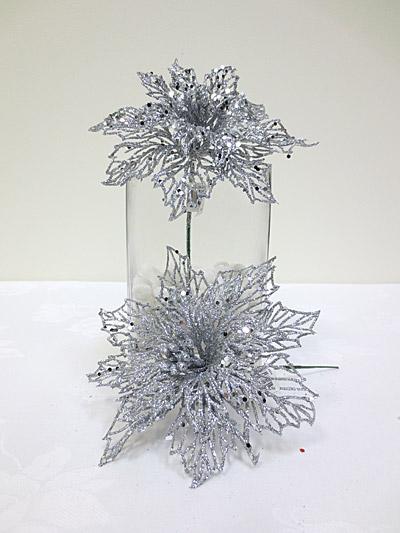 Glitter Poinsettia Pick (Silver)