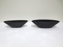 Set/2 Oval Tapered Vase (Black)