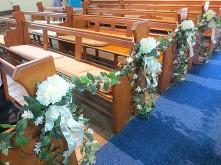 Hydrangea Church Pews Decoration