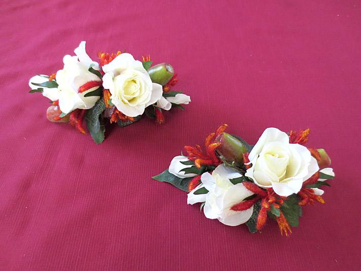 Native Rose & Kangaroo Paw Set – Wrist Corsages