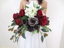 Dusty Red & Black Rose Bouquet