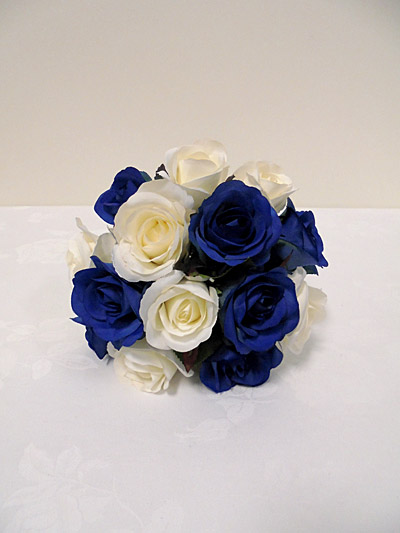 Blue & White Rose Bridesmaid Posy
