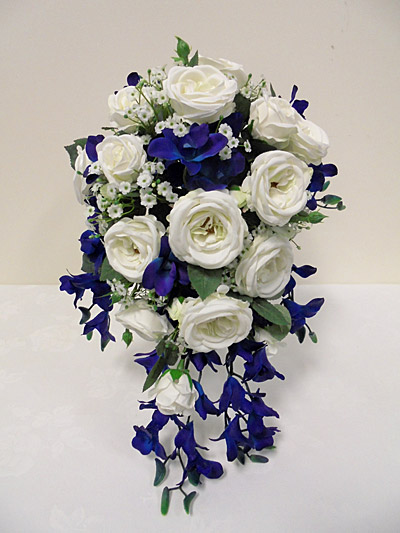 Blue Galaxy Orchid & Rose Bridal Bouquet